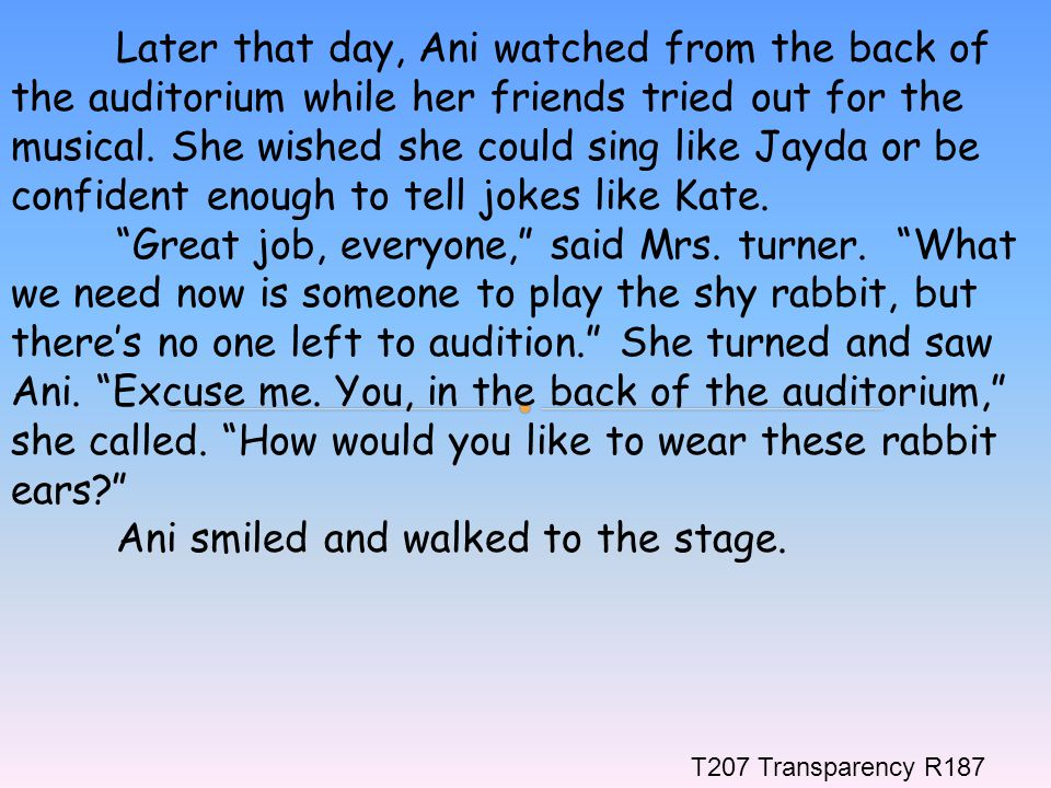 Ani smiled and walked to the stage.