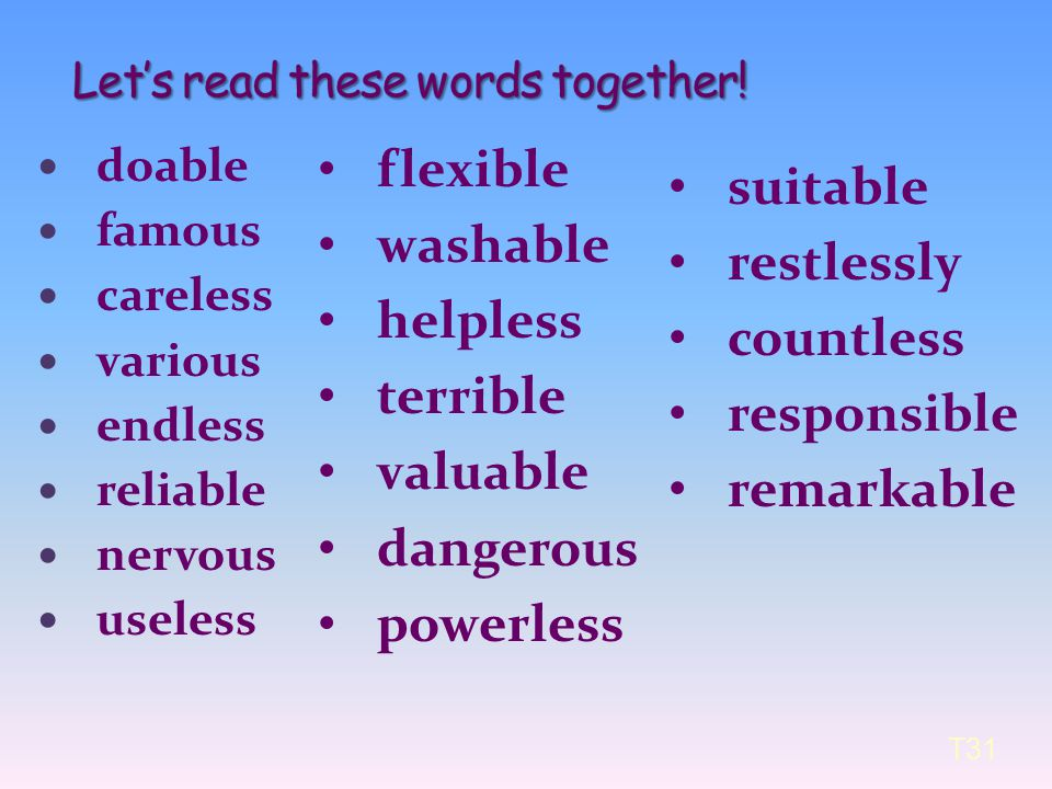 Let's read these words together!