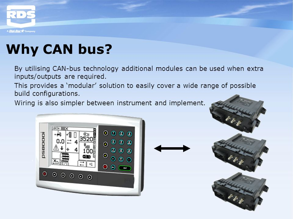 Why CAN bus By utilising CAN-bus technology additional modules can be used when extra inputs/outputs are required.