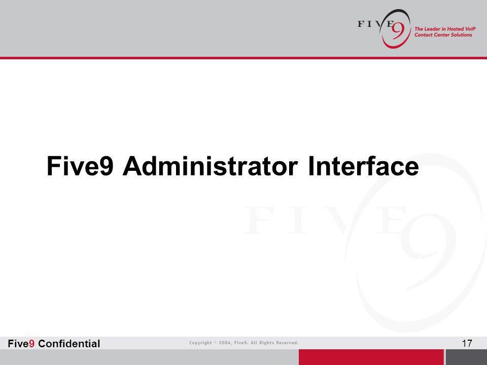 Five9 Administrator Interface