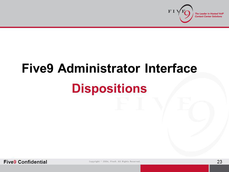 Five9 Administrator Interface Dispositions