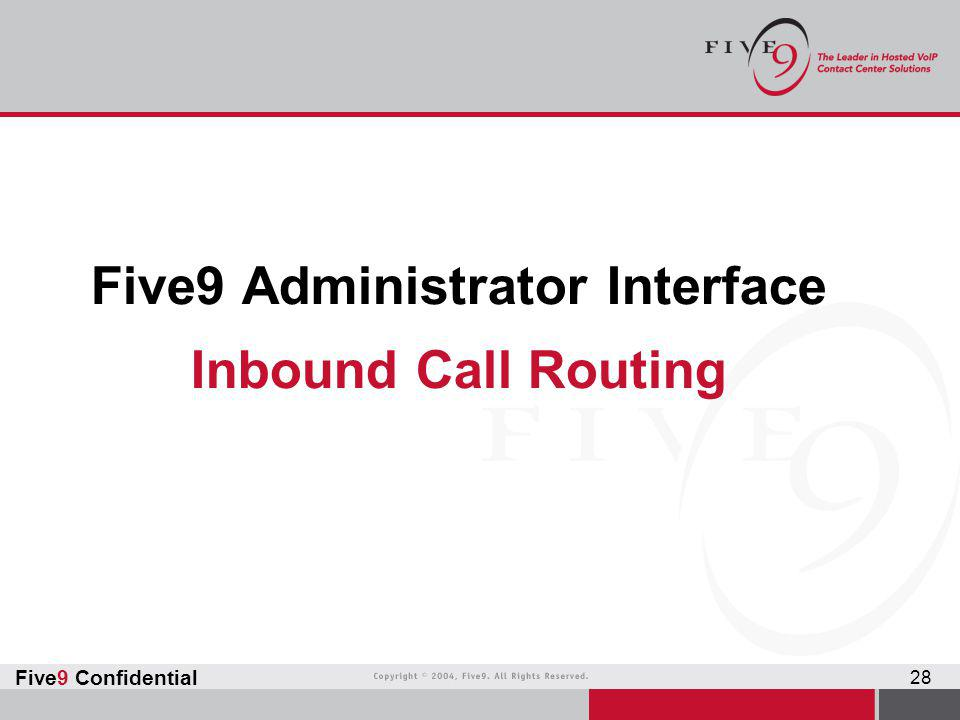 Five9 Administrator Interface Inbound Call Routing