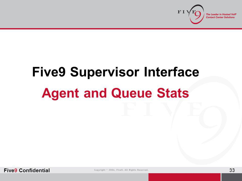 Five9 Supervisor Interface Agent and Queue Stats