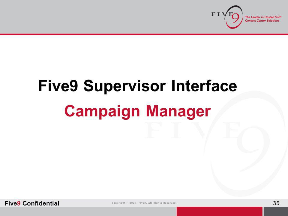 Five9 Supervisor Interface Campaign Manager