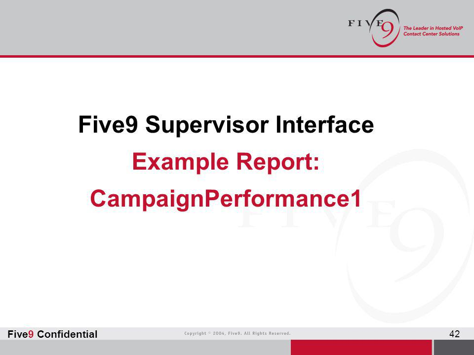 Five9 Supervisor Interface Example Report: CampaignPerformance1