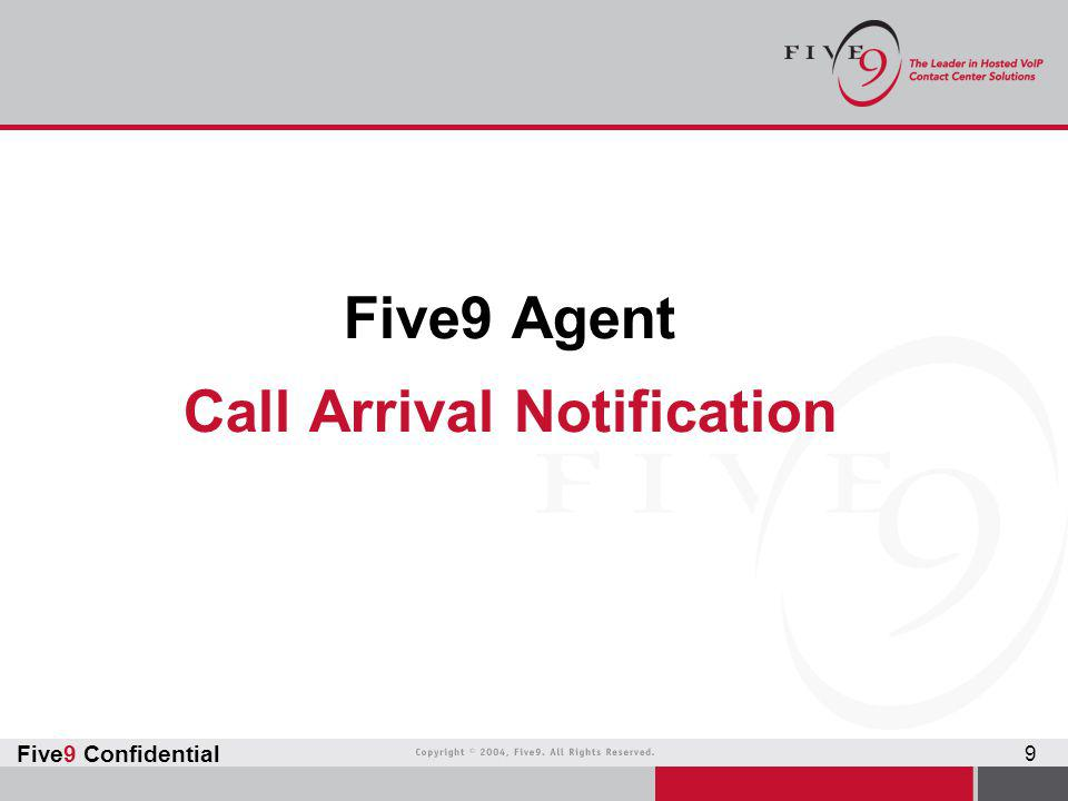 Five9 Agent Call Arrival Notification