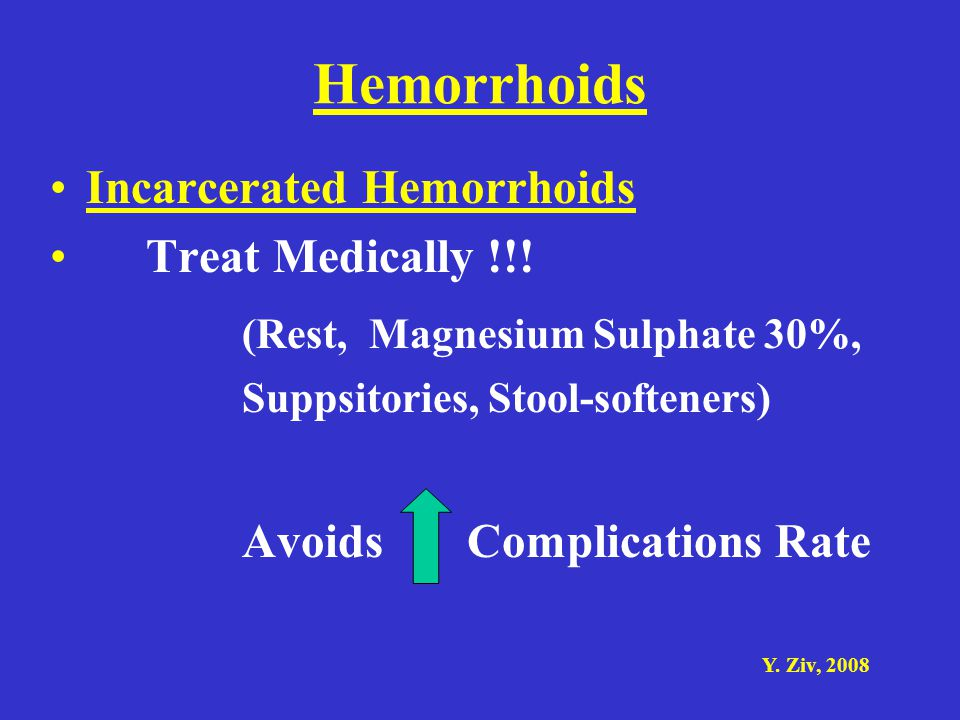Hemorrhoids (Rest, Magnesium Sulphate 30%, Incarcerated Hemorrhoids