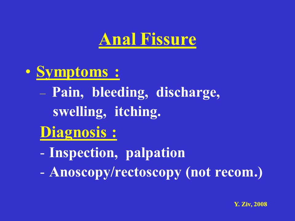 Anal Fissure Symptoms : Diagnosis : swelling, itching.