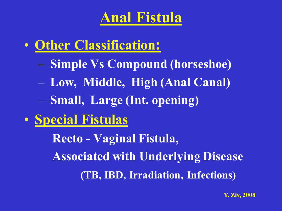 Anal Fistula Other Classification: Special Fistulas