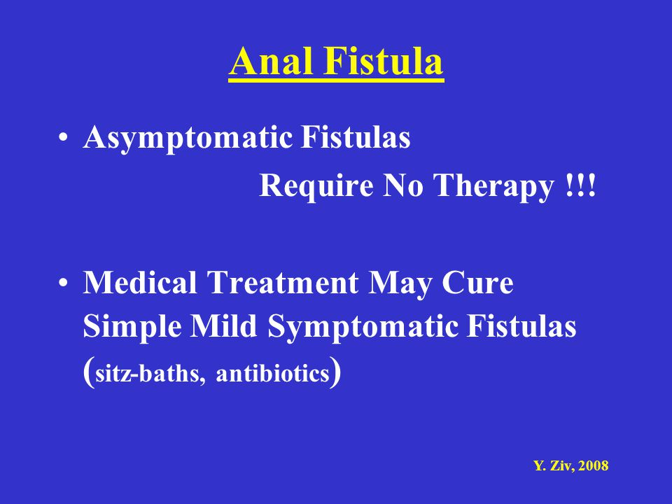 Anal Fistula Asymptomatic Fistulas Require No Therapy !!!