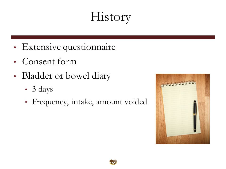 History Extensive questionnaire Consent form Bladder or bowel diary