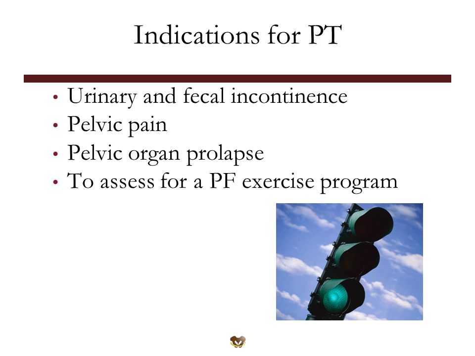 Indications for PT Urinary and fecal incontinence Pelvic pain