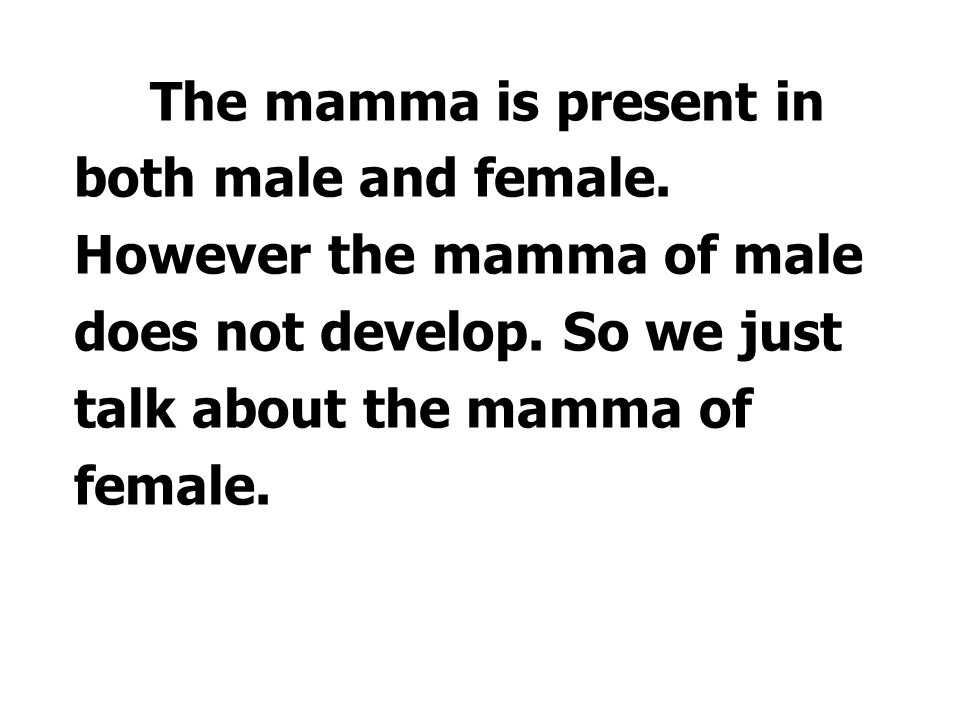 The mamma is present in both male and female