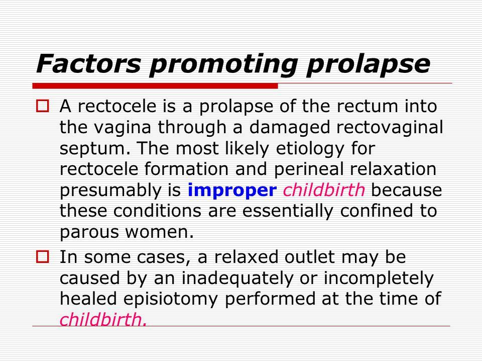 Factors promoting prolapse