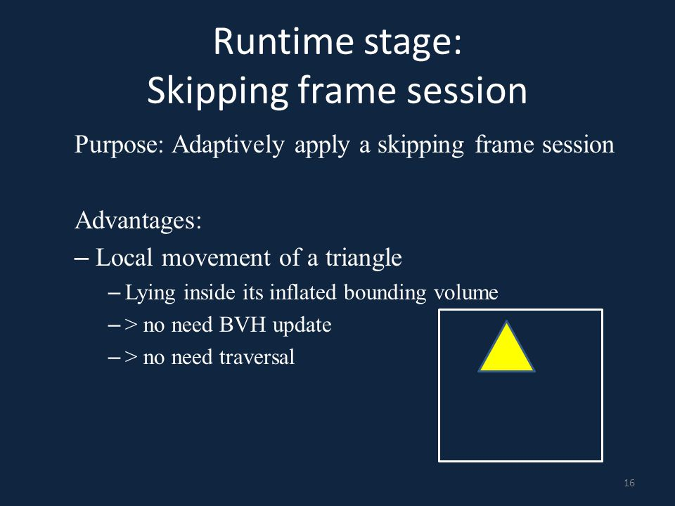 Runtime stage: Skipping frame session