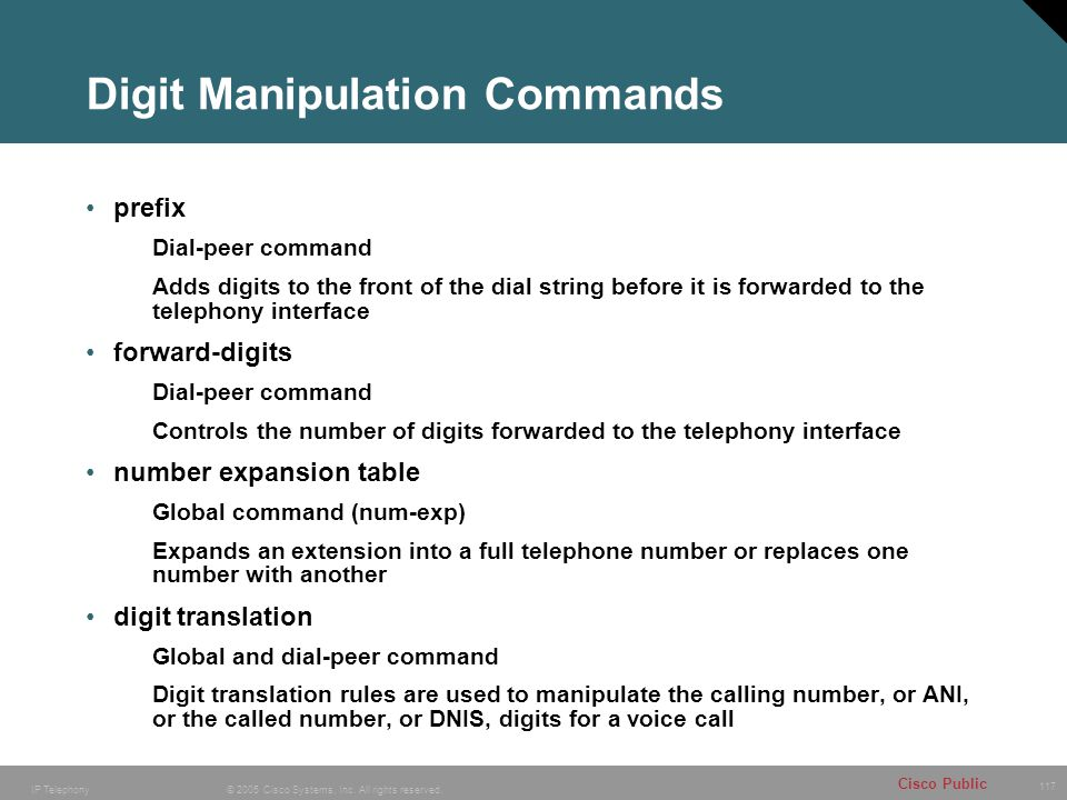 Digit Manipulation Commands