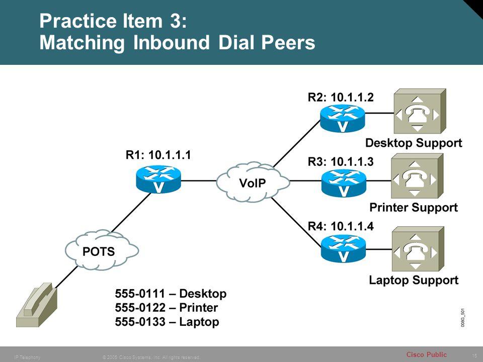 Practice Item 3: Matching Inbound Dial Peers