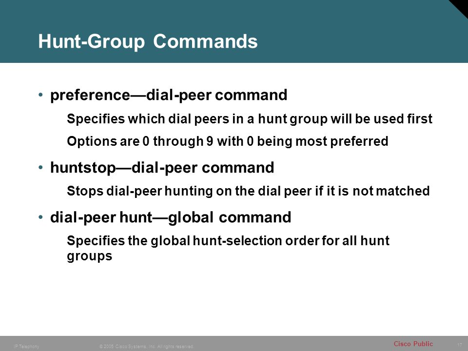 Hunt-Group Commands preference—dial-peer command