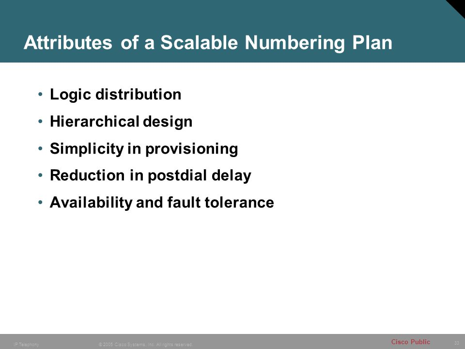 Attributes of a Scalable Numbering Plan