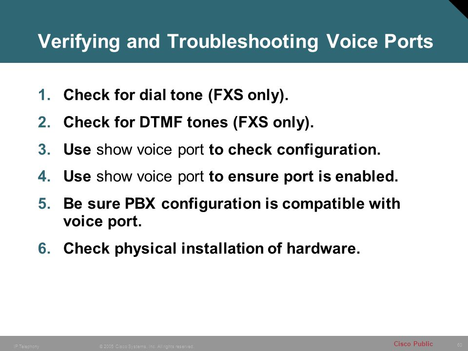 Verifying and Troubleshooting Voice Ports