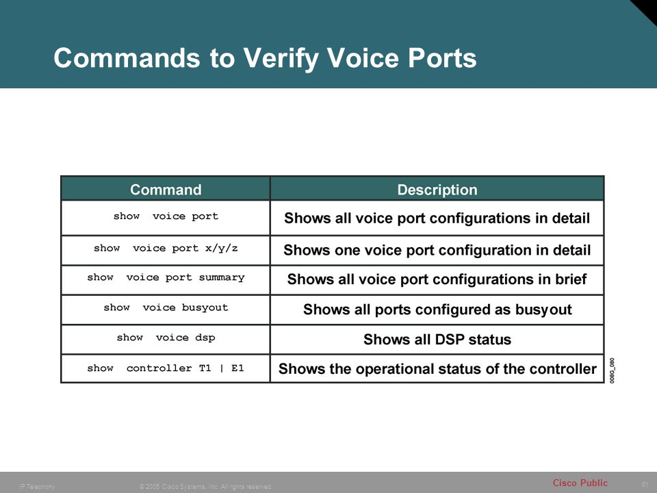 Commands to Verify Voice Ports