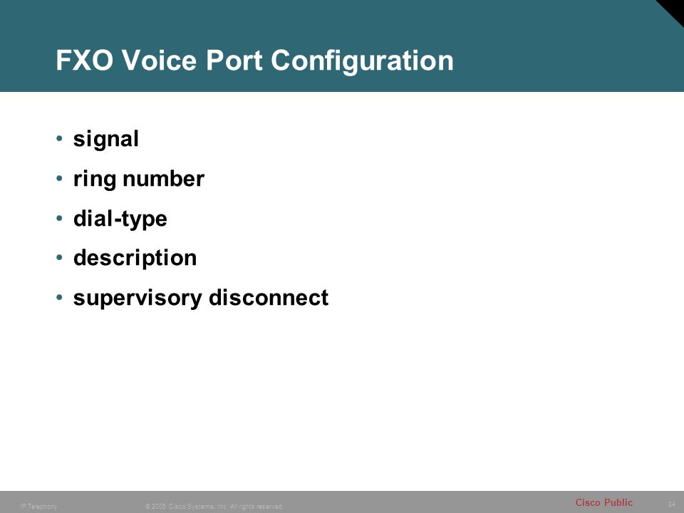 FXO Voice Port Configuration