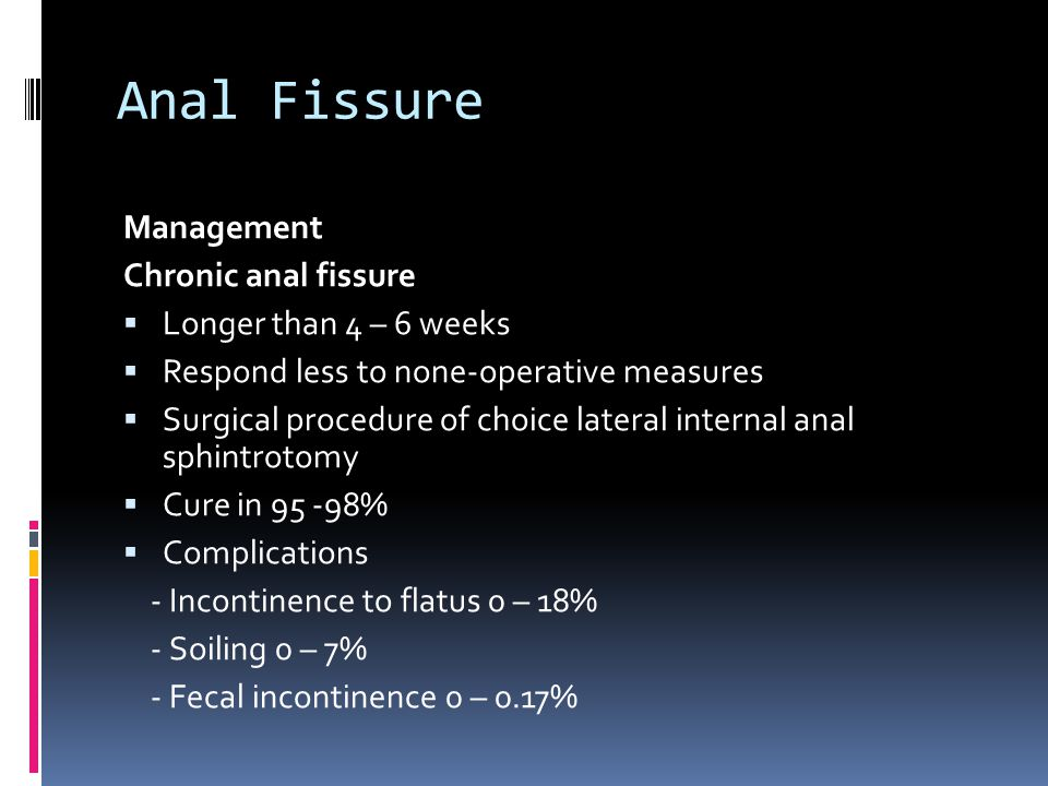 Anal Fissure Management Chronic anal fissure Longer than 4 – 6 weeks