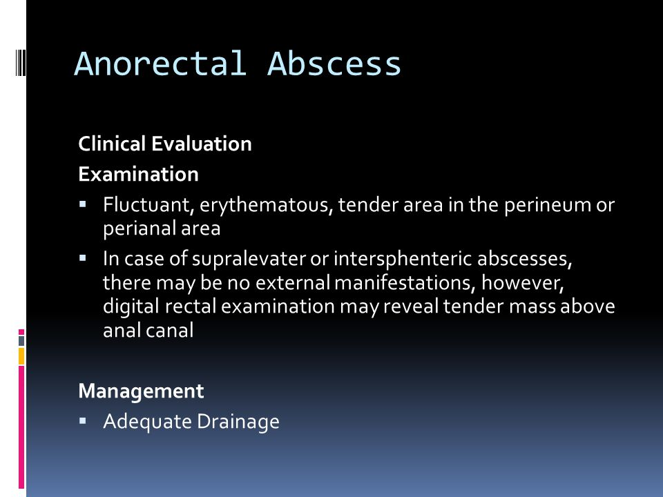Anorectal Abscess Clinical Evaluation Examination