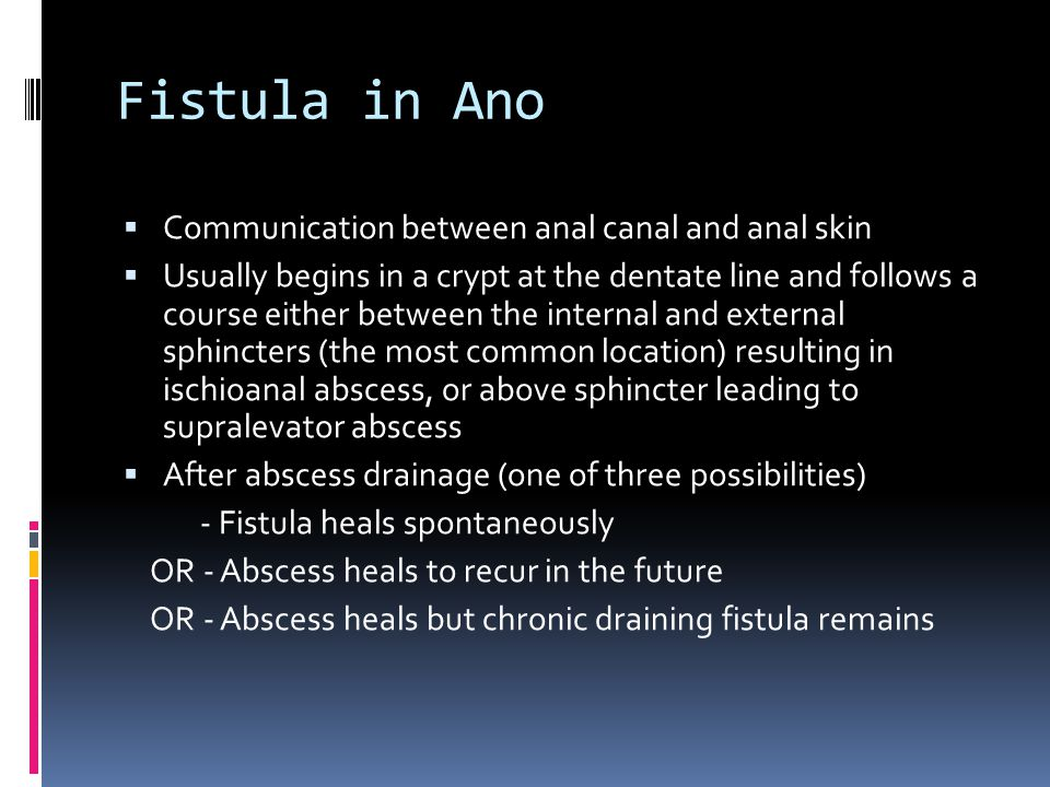 Fistula in Ano Communication between anal canal and anal skin