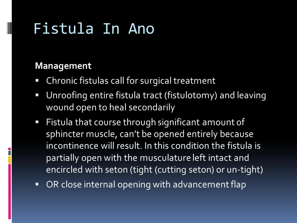 Fistula In Ano Management Chronic fistulas call for surgical treatment