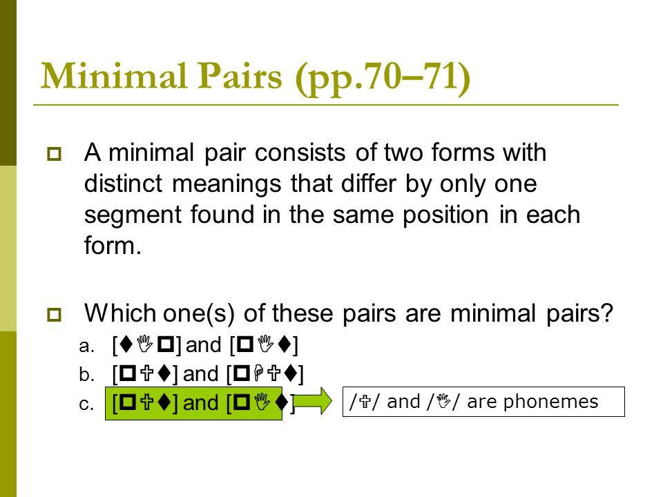 Minimal Pairs (pp.70–71)