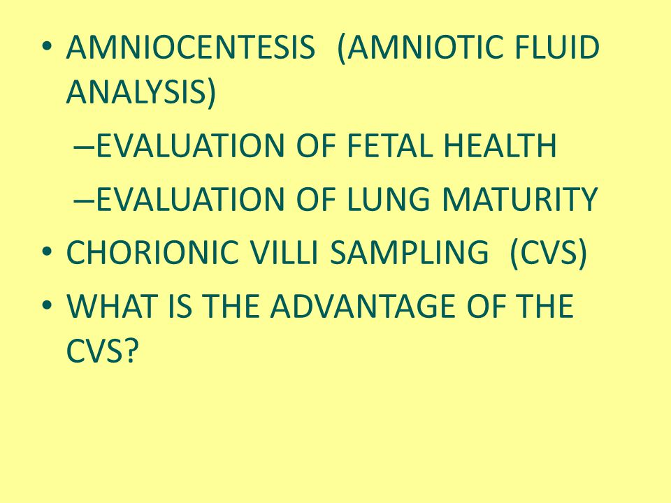 AMNIOCENTESIS (AMNIOTIC FLUID ANALYSIS)