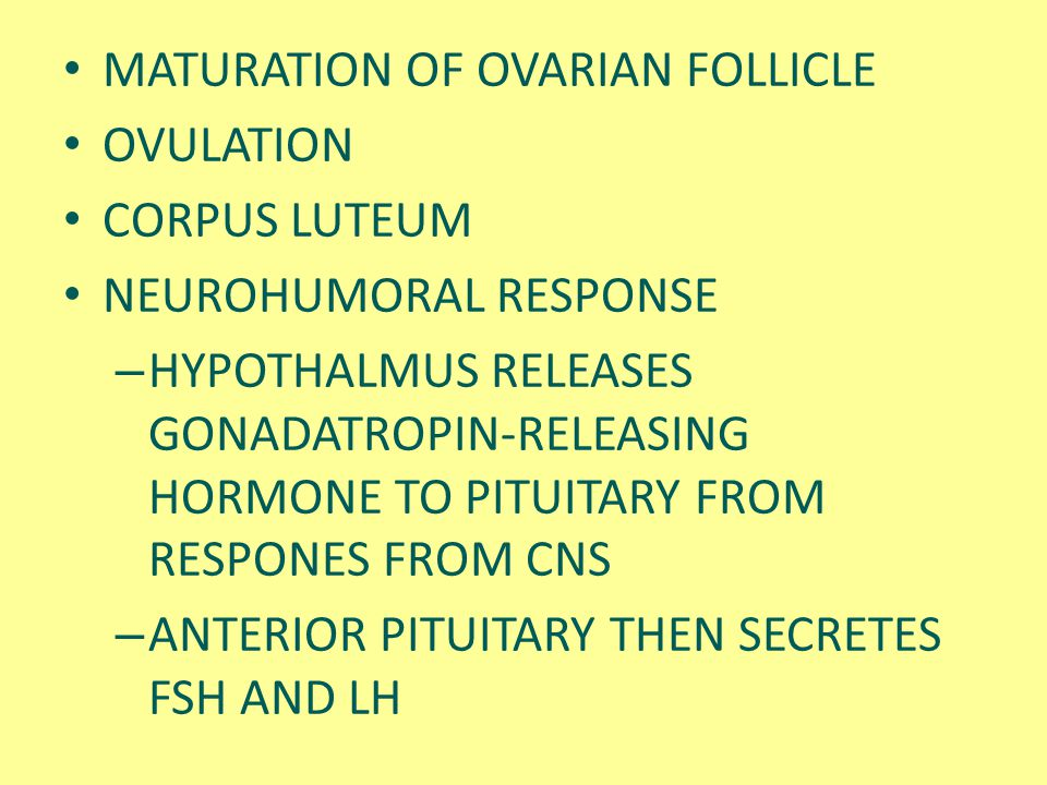MATURATION OF OVARIAN FOLLICLE