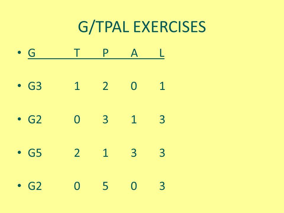 G/TPAL EXERCISES G T P A L G3 1 2 0 1 G2 0 3 1 3 G5 2 1 3 3 G2 0 5 0 3