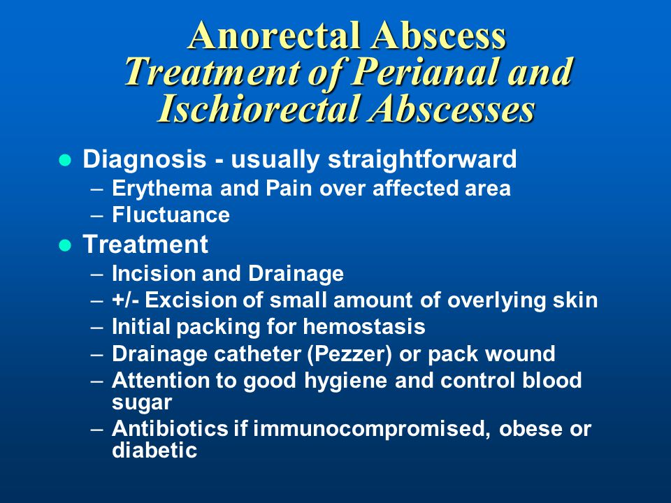 Anorectal Abscess Treatment of Perianal and Ischiorectal Abscesses