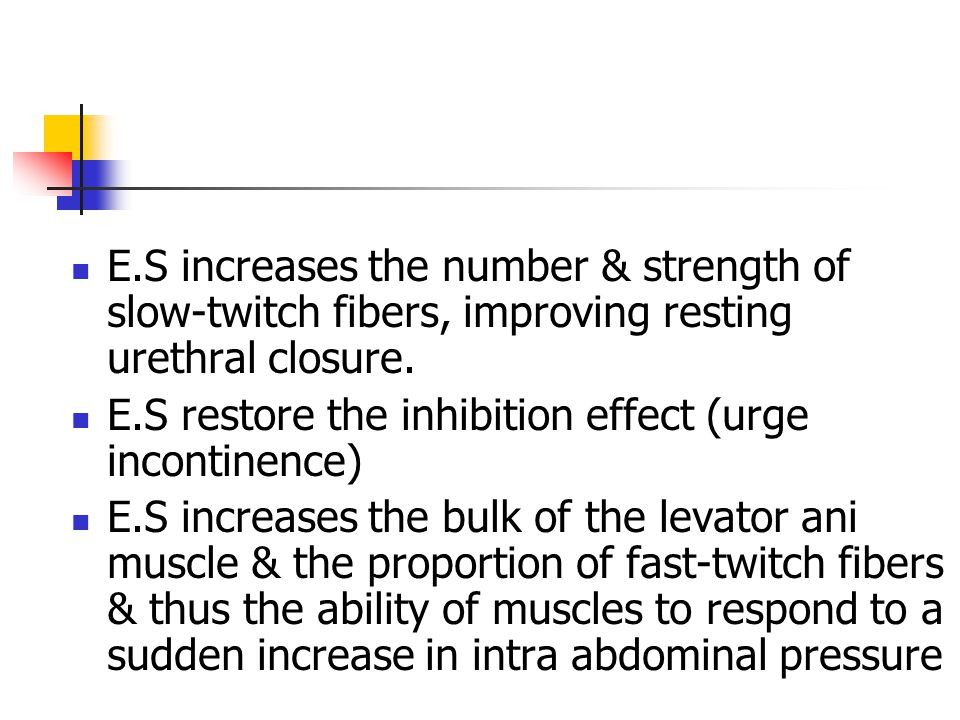 E.S increases the number & strength of slow-twitch fibers, improving resting urethral closure.