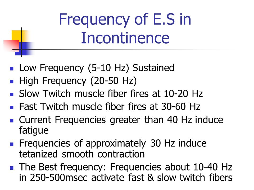 Frequency of E.S in Incontinence