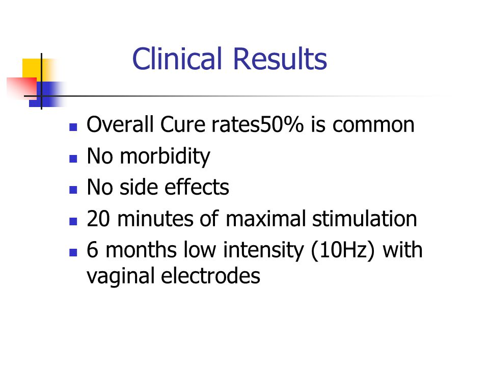 Clinical Results Overall Cure rates50% is common No morbidity