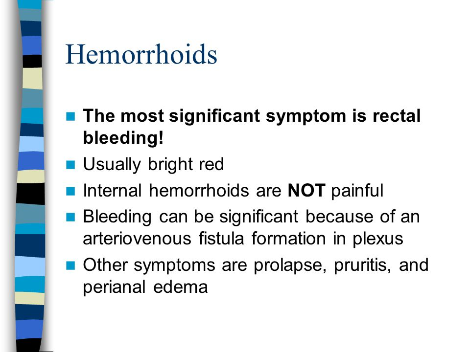 Hemorrhoids The most significant symptom is rectal bleeding!