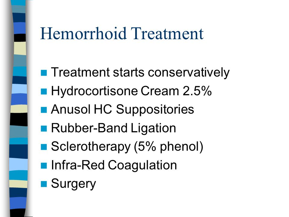 Hemorrhoid Treatment Treatment starts conservatively