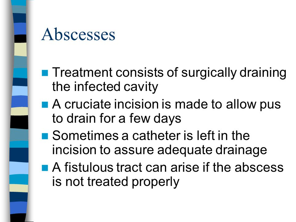Abscesses Treatment consists of surgically draining the infected cavity. A cruciate incision is made to allow pus to drain for a few days.