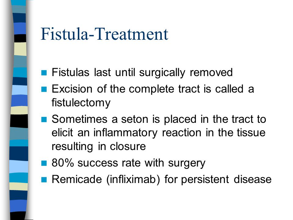 Fistula-Treatment Fistulas last until surgically removed