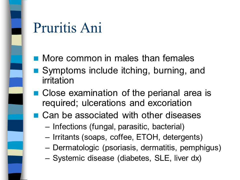 Pruritis Ani More common in males than females