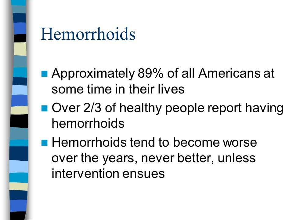 Hemorrhoids Approximately 89% of all Americans at some time in their lives. Over 2/3 of healthy people report having hemorrhoids.