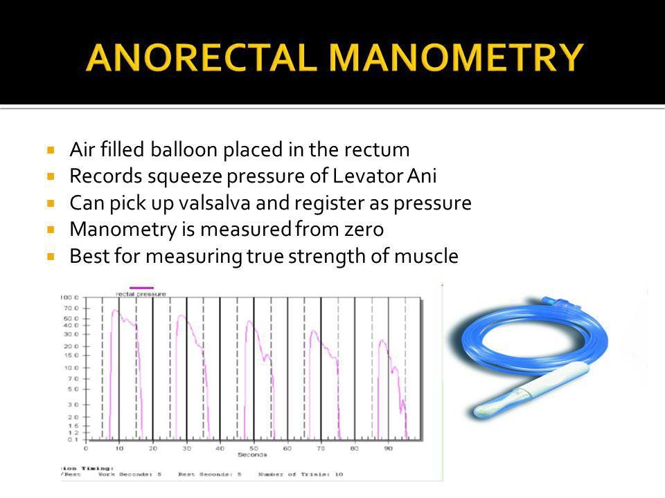 Anorectal Manometry Air filled balloon placed in the rectum