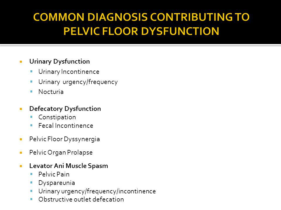 COMMON DIAGNOSIS CONTRIBUTING TO PELVIC FLOOR DYSFUNCTION