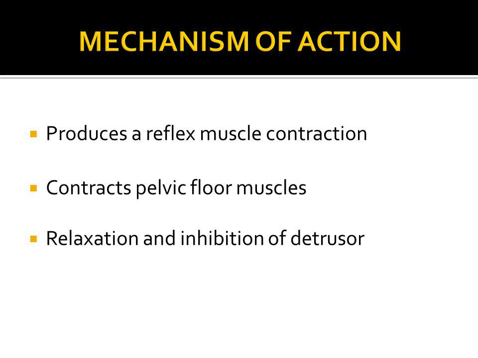 Mechanism of Action Produces a reflex muscle contraction