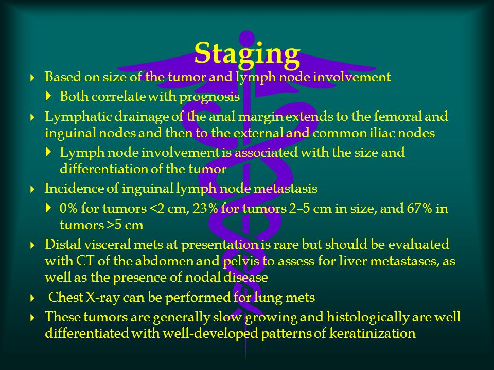 Staging Based on size of the tumor and lymph node involvement