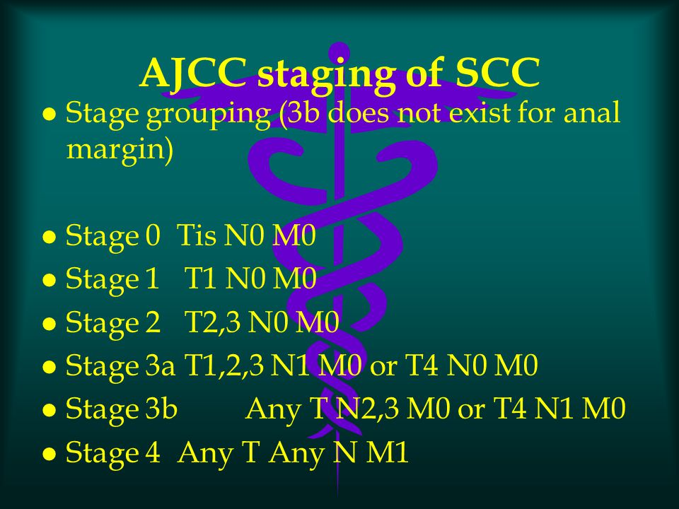 AJCC staging of SCC Stage grouping (3b does not exist for anal margin)