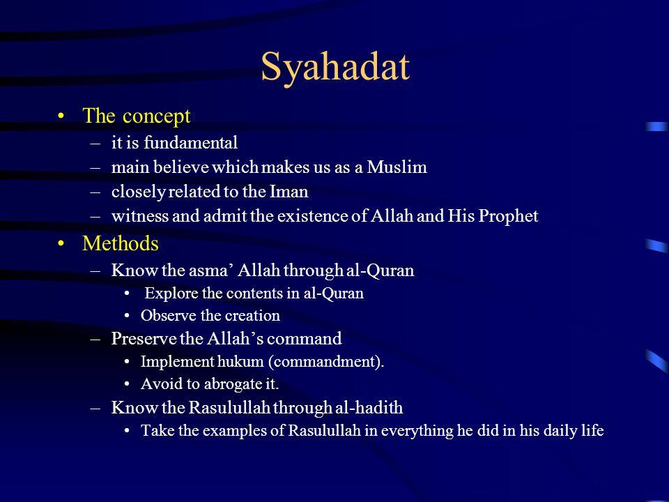 Syahadat The concept Methods it is fundamental